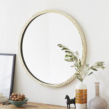 Mirrors - Thin Textured Round Mirror | West Elm - round white mirror, round textured white mirror, round distressed white mirror,