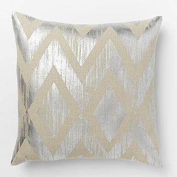 Pillows - Metallic Chevron Pillow Cover Silver | West Elm - metallic silver pillow, metallic chevron pillow, metallic silver chevron pillow,