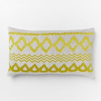 Pillows - Velvet Ikat Embroidered Geo Pillow Cover | West Elm - yellow ikat pillow, velvet ikat pillow, gray and yellow ikat pillow, gray and yellow embroidered pillow,