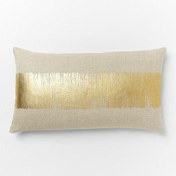 Pillows - Metallic Ikat Stripe Pillow Cover Gold | West Elm - metallic stripe pillow cover, gold metallic stripe pillow, linen gold striped pillow,