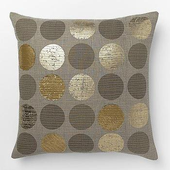 Pillows - Metallic Circles Pillow Cover | West Elm - gray silver and gold pillow, gray silver and gold dot pillow, silver and gold metallic dot pillow, metallic polka dot pillow,