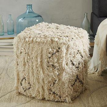 Seating - Moroccan Wedding Pouf | West Elm - moroccan wedding blanket pouf, moroccan pouf, moroccan blanket pouf,