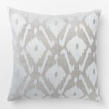 Velvet Ikat Embroidered Diamond Pillow Cover, West Elm