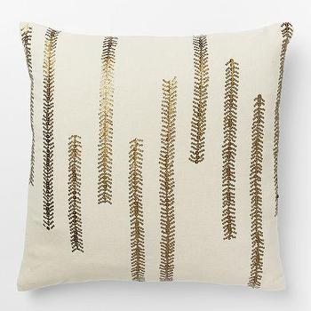 Pillows - Sequin Fern Pillow Cover | West Elm - sequinned fern pillow, metallic fern pillow, gold fern pillow, metallic fern pillow,
