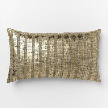 Pillows - Metallic Sovereign Stripe Pillow Cover | West Elm - gold striped pillow, metallic gold stripe pillow, gold and gray striped pillow,