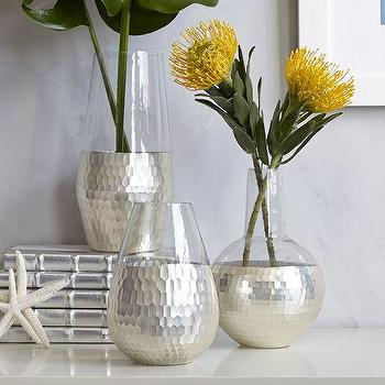 Decor/Accessories - Metallic Honeycomb Vases | West Elm - silver metallic glass vase, silver honeycomb vase, silver faceted glass vase,