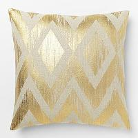 Pillows - Metallic Chevron Pillow Cover Gold | West Elm - metallic gold pillow, geometric gold pillow, metallic gold chevron pillow,