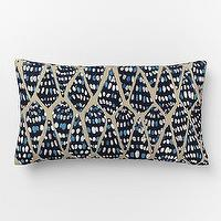 Pillows - Outdoor Conical Shells Pillow | West Elm - blue seashell pillow, blue shell pillow, blue conical shell pillow,