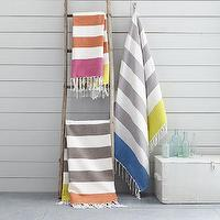 Decor/Accessories - Color Block Stripe Picnic Throws | West Elm - striped gray throw, striped monogrammed throw, striped monogrammable throw,