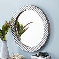 Mirrors - Parsons Round Mirror - Herringbone | West Elm - round bone inlaid mirror, round bone inlay mirror, round bone mirror,