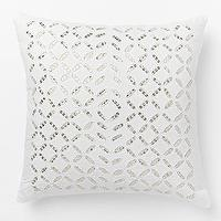 Pillows - Sequin Cutwork Pillow Cover I West Elm - silver and white pillow, silver and white cutwork pillow, silver sequinned cutwork pillow,