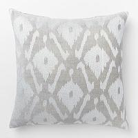 Pillows - Velvet Ikat Embroidered Diamond Pillow Cover | West Elm - gray ikat pillow, gray velvet ikat pillow, silver ikat pillow,