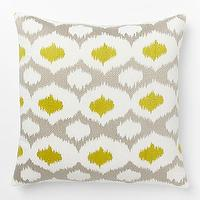 Pillows - Velvet Ikat Embroidered Ogee Pillow Cover | West Elm - gray and yellow ikat pillow, gray mustard ikat pillow, gray yellow velvet ikat pillow,