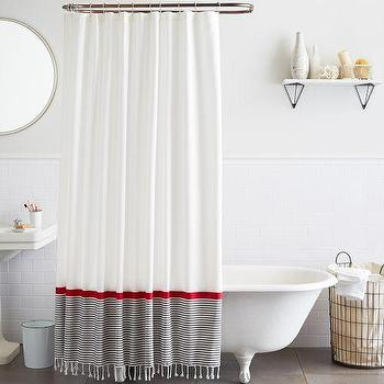 Bath - Stripe Border Shower Curtain | West Elm - gray and red tasseled shower curtain, fringed shower curtain, striped border shower curtain,