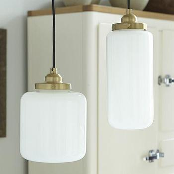 Lighting - Glass Jar Pendant - Milk | West Elm - milk glass jar pendant, white glass jar shaped pendant, white glass brass pendant light,