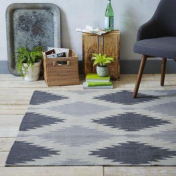 Rugs - Phoenix Wool Dhurrie Rug - Iron | West Elm - blue gray dhurrie rug, blue gray southwestern style rug, modern southwestern rug,