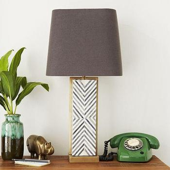 Lighting - Chevron Deco Table Lamp - Large | West Elm - bone inlaid table lamp, herringbone bone inlay lamp, gray and white herringbone lamp, brass bone inlaid lamp,