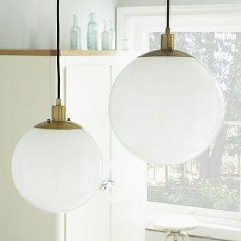 Lighting - Globe Pendant - Milk Finish | West Elm - globe milk glass pendant, sphere white glass pendant, sphere white glass brass pendant,
