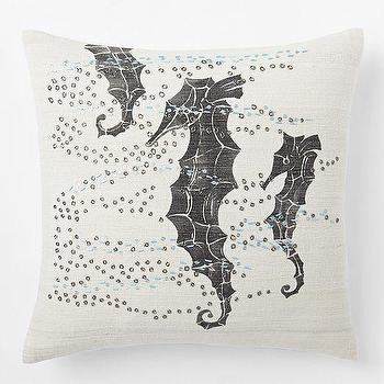 Pillows - Embellished Seahorse Silk Pillow Cover | West Elm - gray and white seahorse pillow, silk seahorse pillow, screenprinted seahorse pillow,