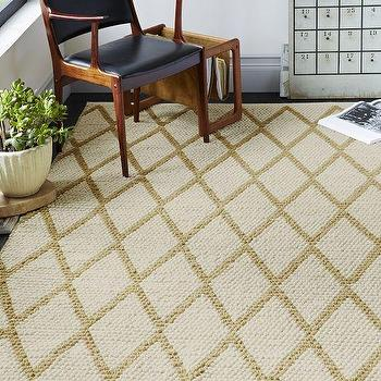 Rugs - Knotted Diamonds Wool Rug Horseradish | West Elm - diamond wool rug, ivory and ochre geometric rug, ivory and gold geomeric rug,