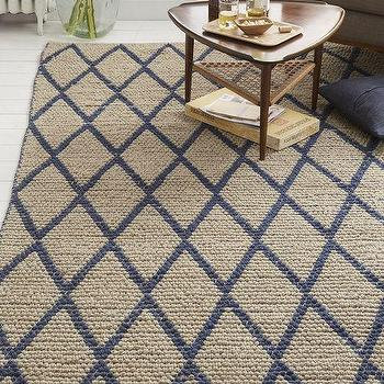 Rugs - Knotted Diamonds Wool Rug Regal Blue | West Elm - diamond lattice blue rug, blue and beige diamond rug, blue and beige geometric rug,