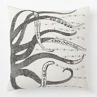 Pillows - Embellished Octopus Silk Pillow Cover | West Elm - gray and white octopus pillow, silk octopus pillow, screenprinted octopus pillow,