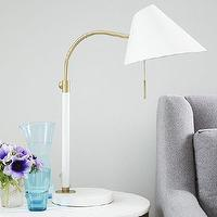 Lighting - Mid-Century Task Table Lamp - White | West Elm - white and brass task lamp, white and brass desk lamp, mid century brass task lamp,