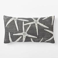 Pillows - Embellished Starfish Silk Pillow Cover | West Elm - gray starfish pillow, gray and white starfish pillow, gray silk starfish pillow, screenprinted starfish pillow,