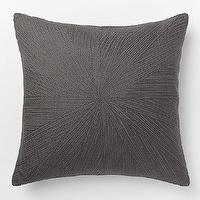 Pillows - Embroidered Starburst Pillow Cover Slate | West Elm - charcoal gray pillow, charcoal gray starburst pillow, dark gray starburst pillow,