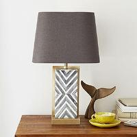 Lighting - Chevron Deco Table Lamp - Small | West Elm - bone inlaid table lamp, herringbone bone inlay lamp, gray and white herringbone lamp, brass bone inlaid lamp,