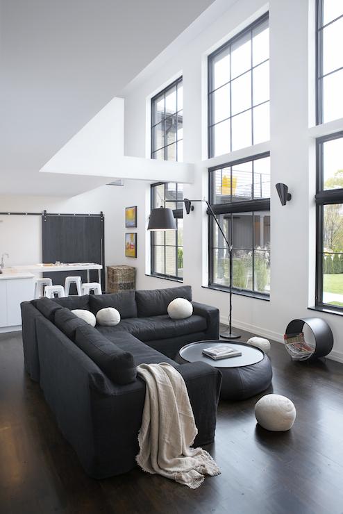 Black Sectional Living Room Decor: Black Slipcovered Sectional