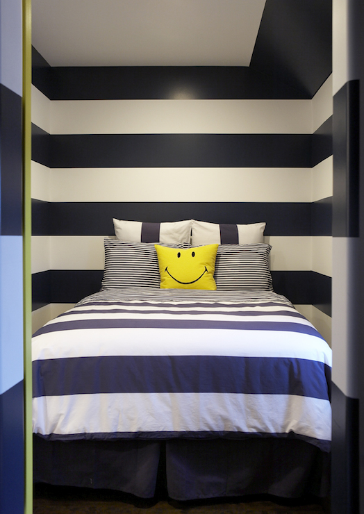 Navy striped walls contemporary boy 39 s room leo for Boys rugby bedroom ideas