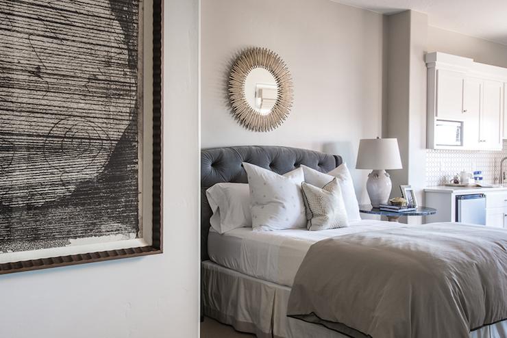 Gray Velvet Tufted Headboard Transitional Bedroom