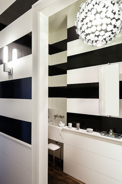 Black And White Stripe Walls Contemporary Bathroom