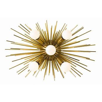 Lighting - DwellStudio Constellation Indoor/Outdoor Sconce | DwellStudio - antique brass wall sconce, sculptural brass wall sconce, 70s style brass sconce, seventies style brass sconce,
