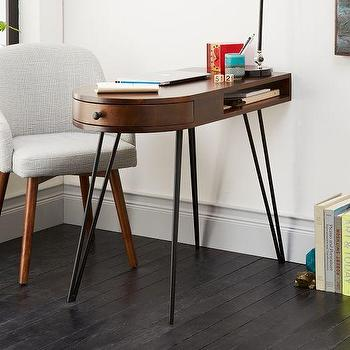 Tables - Pencil Desk | West Elm - hairpin desk, rounded desk with metal legs, retro desk, retro desk with hairpin legs,