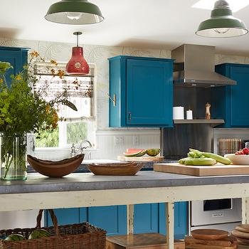 Peacock Blue Cabinets, Eclectic, kitchen, Kristen Panitch Interiors