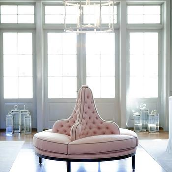 Bravo TV - living rooms - roundabout bench, pink bench, round bench, round pink bench, pink round bench, upholstered roundabout bench, pink tufted bench, tray ceiling, living room tray ceiling, tray ceiling living room, faux bois chandelier, white faux bois chandelier,