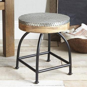 Seating - Hammered Metal Stool | West Elm - hammered metal stool, iron stool with hammered seat, industrial metal stool,