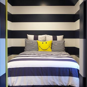Leo Designs Chicago - boy's rooms - striped walls, striped bedroom walls, horizontal striped walls, striped boys room walls, striped boys bedroom walls, striped kids room walls, navy and white striped walls, navy and white horizontal striped walls, navy blue and white striped walls, navy and white striped bedding, navy and white striped duvet, navy blue striped bedding, smiley face pillow, yellow smiley face pillow, navy and white bedroom, navy and white boys bedroom, navy stripe walls, navy striped walls, navy blue stripe walls, navy blue striped walls, white and navy kids room, navy kids room, navy blue kids room, navy striped bedding, kids bedding, smiley face pillow,