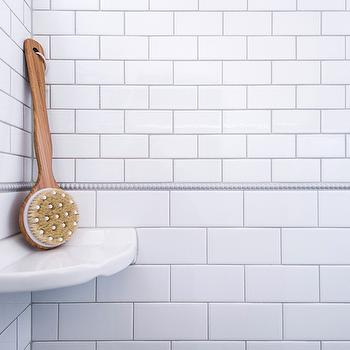 Alice Lane Home - bathrooms - beaded tiles, beaded accent tiles, beaded border tiles, gray grout, walk in shower, shower surround, subway tiles, subway tile shower, subway tile with gray grout, subway tile gray grout,