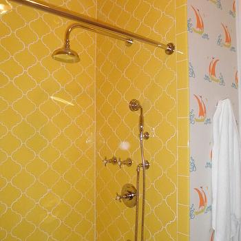 Peppermint Bliss - bathrooms - katie ridder wallpaper, yellow tiles, yellow shower tiles, arabesque tiles, yellow arabesque tiles, arabesque shower tiles, arabesque shower surround, kids bath, kids bathroom, kids bath ideas, kids wallpaper, kids bath wallpaper, kids bath wallpaper, kid bath wallpaper, yellow shower surround,