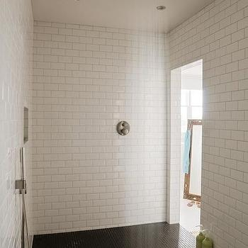 bathrooms - black and white shower, shower room, black and white shower tiles, black shower floor, black tiled shower floor, subway tiles, subway tile shower surround, rain shower head,
