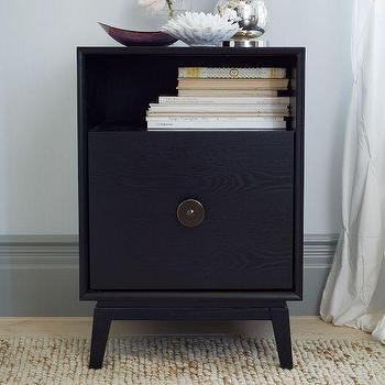 Storage Furniture - Marguerite Nightstand | West Elm - black deco style nightstand, black nightstand with brass pull, black retro style nightstand, black lacquered nightstand,