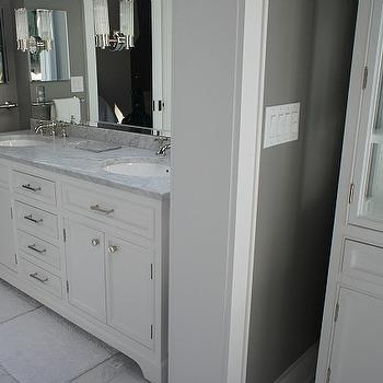 Hooked on Houses - bathrooms - his and her bath mats, white bath mats, restoration hardware double vanity, restoration hardware double washstand, kent double vanity, italian carrara marble, italian carrara marble countertop, white and grey bath, white and gray bathroom, sconces on mirror, white marble floor,