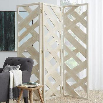 Decor/Accessories - Fretwork Screen | West Elm - whitewashed screen, whitewashed fretwork screen, white washed woven screen,