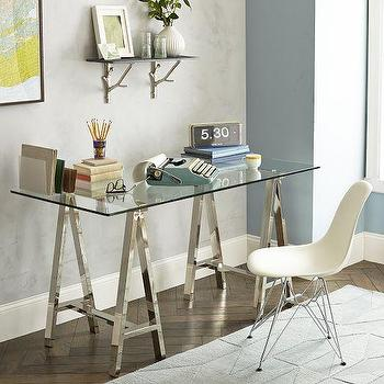 Tables - Glass Cross Base Desk | West Elm - chrome sawhorse desk, chrome and glass sawhorse desk, chrome trestle desk, chrome and glass desk,