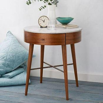 Storage Furniture - Penelope Nightstand Large (Acorn) | West Elm - round marble topped nightstand, mid century style nightstand, wood veneer single drawer nightstand, marble nightstand with tapered legs, mid century style nightstand,