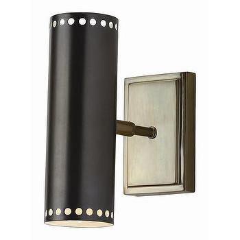 Lighting - DwellStudio Dotted Cylinder Indoor/Outdoor Sconce | DwellStudio - modern indoor outdoor sconce, vintage brass outdoor sconce, contemporary iron wall sconce,