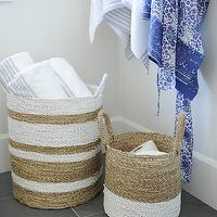 Tracey Ayton Photography - bathrooms - slate floor tile, slate bathroom floors, slate tiled floors, woven striped basket, white striped woven basket, bathroom baskets,